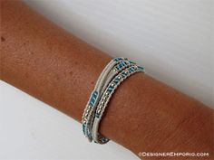 Sterling silver, aqua crystal & leather DNA (Divine-Nature-Advantage) Morse code wrap bracelet by DesignerEmporio, $90.00
