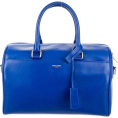 Saint Laurent Classic Duffle 6 (1,475 CAD) ❤ liked on Polyvore featuring bags, handbags, blue, hand bags, handbags purses, leather duffle bag, blue purse and blue leather handbag