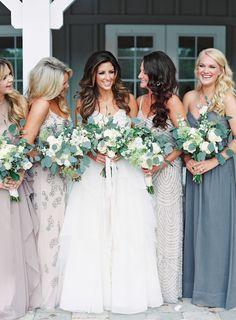 Photography: Lauren Peele - www.laurenpeelephotography.com Wedding Dress: Hayley Paige - www.jlmcouture.com/Hayley-Paige Bridesmaids' Dresses: Stardust Celebrations - stardustcelebrations.com Read More on SMP: http://www.stylemepretty.com/2015/07/13/rustic-elegant-jacksonville-wedding/
