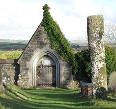 Standing stone and church ruins Sarn Meyllyeyrn, Lleyn Peninsula, Wales