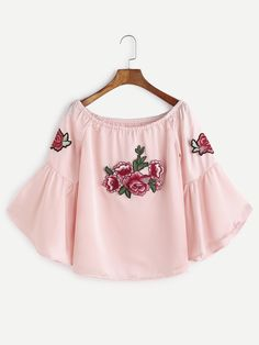 Shop Pink Boat Neck Bell Sleeve Flower Embroidered Patch Top online. SheIn offers Pink Boat Neck Bell Sleeve Flower Embroidered Patch Top & more to fit your fashionable needs.