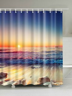 $15.77 3D Beach Sunset Bath Decor Waterproof Shower Curtain