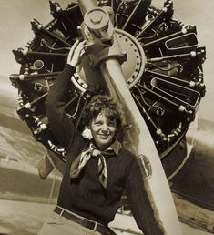 Amelia Earhart .  American aviation pioneer and author. She was the first female aviator to fly solo across the Atlantic Ocean