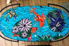 fish pond floor mosaic This would be a good idea to do on the back of your aquarium.