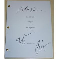Red Dragon Autographed Full Script by Ralph Fiennes, Mary Louise Parker and Philip Seymour Hoffman, As Shown
