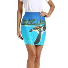 Womens Pencil Skirt Turtle Swimming The Water Stretch Bodycon Short Skirts Knee Length for Business