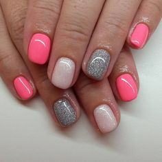 Click the pic to try this cute set of nails for yourself! Pink, silver and baby pink with glitter is beautiful all year. The post is from this one https://www.instagram.com/p/8lw_BkgSUd/ and her instagram is filled with other cute designs for nails! Nice nails can be done at home for less!!
