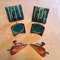 3 Sets Enamel Screw Back Earrings, Vintage Mid Century and Hogan Bolos Earrings, Modernist by happytrailsmichelle on Etsy