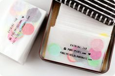 confetti business cards: stamped glassine envelopes filled with tissue paper confetti {Pugly Pixel}