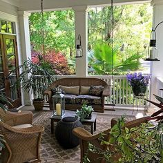A front porch in #HabershamSC offers a shaded, cool outdoor space for relaxing or entertaining. This picture of 31 Mount Grace is one of our favorite #frontporches See the rest of this beautiful home at http://HabershamSC.com/31-mount-grace/ #Beaufort #realestate #SouthernLiving #southernlivinginspiredcommunity
