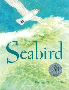 Seabird by Holling C. Holling, honor award 1949: carved ivory gull witnesses the history of ships with drawings, diagrams, and timetables, fascinating.