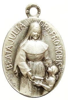 """Saint Julia Vintage Religious Medal signed by BOUIX on 18 inch sterling rolo chain, featuring strong lobster clasp. Engraved in Latin: """"Beata Julia ora pro nobis"""" - Blessed Julia pray for us. Julia Williams, Pray For Us, Power Of Prayer, Catholic, Saints, Religion, Statue, Prayers, Angels"""
