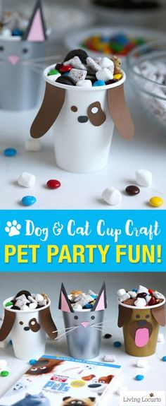 Pet party ideas for kids! Dog and Cat Paper Cup Craft with Puppy Chow Snack Bar. Perfect for a pet themed birthday or The Secret Life of Pets Movie party.