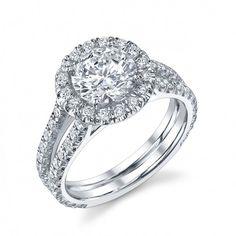 18k white gold engagement ring, round halo center with split shank