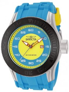 Women's Wrist Watches - Invicta Mens Pro Diver YellowLight Blue Dial Light Blue Polyurethane >>> Check this awesome product by going to the link at the image. (This is an Amazon affiliate link)