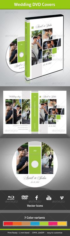 Wedding DVD Covers #GraphicRiver Wedding DVD Covers Included 2 .PSD 7 Color variants Print Ready – 3 mm bleed CMYK , 300DPI Vector icons Manual for fonts and edit images are placed in the file MANUAL Picture are not included Happy newly wed couple Newly Married Couple Groom Kisses His Bride Bride and Groom Running Affectionate wedding couple Bride and Groom with Limo Created: 23September12 GraphicsFilesIncluded: PhotoshopPSD Layered: Yes MinimumAdobeCSVersion: CS4 PrintDimensions: 11x7.5…