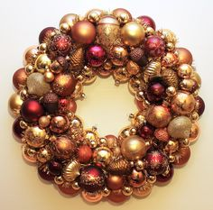 Judy Blank judyblank.etsy.com Gold, copper, bronze and burgundy Christmas ornament wreath