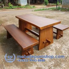 Set Meja dan Bangku Kayu Trembesi MURAH | MEBEL JEPARA SHOP Wood Table, Outdoor Furniture, Outdoor Decor, Dan, Stool, Home Decor, Mesas, Decoration Home, Timber Table