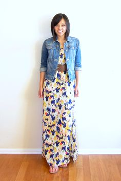 floral maxi dress / belt / denim jacket :: member @Audrey Tom