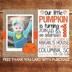Pumpkin Birthday Invitation Printable Fall Party by BenevolentINK