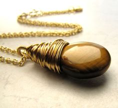 Tigers Eye Necklace Gold Brown Topaz Crystal by BellinaCreations, $42.00