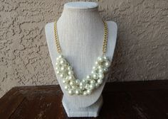 Cream Twisted Pearl Statement Necklace // J Crew Inspired Statement Necklace with Gold Chain // Off White or Ivory Chunky Pearl Necklace on Etsy, $25.49