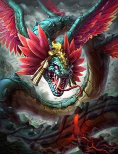 God of the heavens; blows the sun across the sky. Quetzelcoatl (Aztec) // Kukulkan (Mayan)