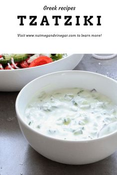 A quick and easy recipe for tzatziki. Serve with pita bread and souvlaki for a perfect summer meal. tzatziki is made with youghurt, dill and cucumber. Pita Bread, Veggie Dishes, Food Items, Vegetarian Recipes, Delicious Recipes, Healthy Recipes, Veggies, Chicken Souvlaki, Stuffed Peppers