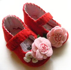 Red, Baby Girl Shoe, Felt Baby Shoes, Baby Shoe. $28.00, via Etsy.