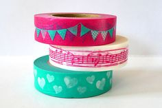 Party Time Japanese Washi Tape PINK Garland Music by PrettyTape