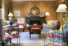 blue & white Henredon chairs with yellow trim, red cube tables and Chinese porcelain in NJ showhouse room by Malcolm McKinstrie II of MacLeod Design