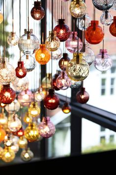 The popular Glass Sphere lighting series is designed by Maud Gj. Bugge and is hand-blown and cut by our talented craftsmen and women at Hadeland Glassverk using 250 year old techniques. Sphere Light, Norwegian Christmas, Cabin Interiors, Jewel Tones, Home Living Room, Living Spaces, My Dream Home, Light Fixtures, Craftsman