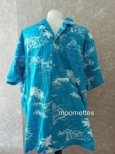 Mens-Hawaiian-Shirt-2XL-Hawaii-Jade-Fashions-Short-Sleeve-Blue-Print-XXL