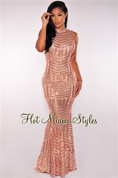 Hot miami styles rose gold sequins open back maxi gown long formal Party Dresses For Women, Club Dresses, Prom Dresses, Club Outfits, Miami Mode, Rose Gold Sequin Dress, Sequin Maxi, Hot Miami Styles, Maxi Gowns