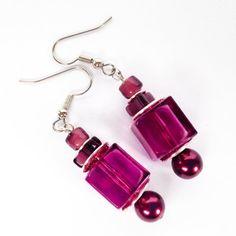 Clear Purple Pink Cube Beaded Dangle Earrings With by JewelsofJane, $12.00