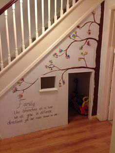 Made this for our little boy! Playhouse under the stairs