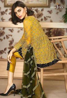 Pakistani Designer Chiffon Dress by Asim Jofa in Green Yellow and Dark Green Color Online at Nameera by Farooq, Beautiful Chiffon Dress by Asim Jofa in Yellow Green and Dark Green Color work Embellished with Tilla Dori, Visit Now : www.NameerabyFarooq.com or Call / Whatsapp : +1 732-910-5427