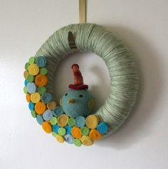 Cute Bird Wreath; Made from Yarn and Felt,10 inch Size