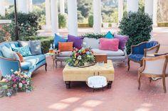 Pretty Vintage Rentals | Jewel toned wedding lounge area | Southern California Wedding Rentals