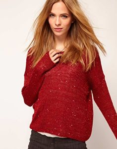$87.95 Selected Besta Knitted Jumper With Sequin Detail