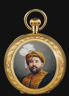 A gem-set gold pocket watch with painted cover depicting the Maharaja Mahendra Singh of Patiala (r.1862-76), Swiss for the Indian market, signed J. Graff (J.G), second half 19th century, an 18 carat yellow gold hunting cased keyless watch with jewelled three quarter plate leaver movement, precision regulation, white enamel dial, Roman numeralscuvette signed by the retailer J. White & Co. Bombay, Swiss Made, and subsequently engraved; Lum 50. Geburstag, 21.11.89, 5cm. diam.