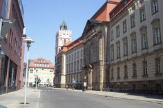 The Viadrina European University, with the tower of the Marienkirche in Frankfurt (Oder), Brandenburg, Germany