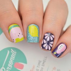 Easy nail art ideas for summer. Lemon and watermelon nail designs.