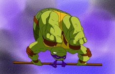 Donatello puts both of his feet up for kicking. TMNT