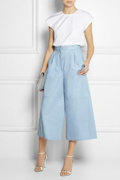 Vionnet | Cropped leather wide-leg pants and top