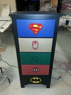 Captivating Superhero Dresser: Superman, Ironman, Hulk, Spider Man, And Batman.