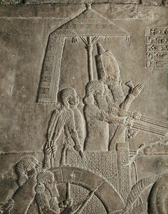 Assur relief. Ashurnazirpal under an umbrella on his chariot, leaving for the hunt. Mesopotamia