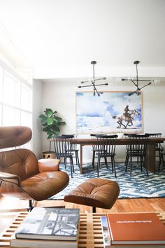 --> eames lounge chair // 9 Must-Haves for a California Eclectic Home// open plan dining room, industrial light fixtures Home Living Room, Living Spaces, Sweet Home, Turbulence Deco, Style At Home, Home Decor Inspiration, Decor Ideas, Room Ideas, Decorating Ideas