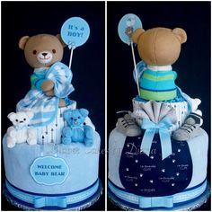 Boy's Teddy Bear Diaper Cake www.facebook.com/DiaperCakesbyDiana