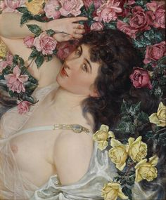 """Among the Roses"" -1897 - Talbot Hughes (british painter)"